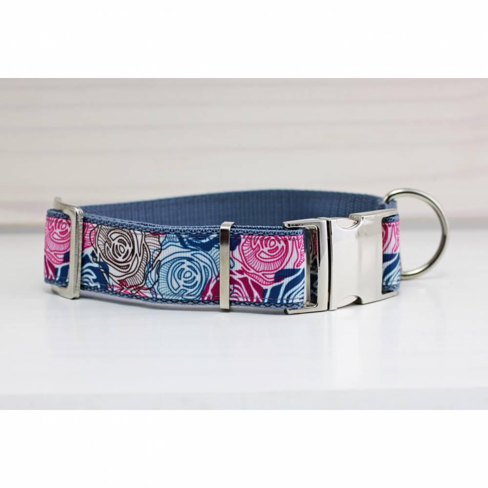 Hundehalsband mit abstrakten Rosen, Gurtband in grau Bild 1