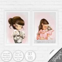 Druckbare Kinderzimmer Bilder Kinder Bild Waldtiere in A4 & A3 |SET 103 Bild 1
