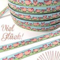 Webband Glücksschweinchen rosa/grün/bleu  Bild 1