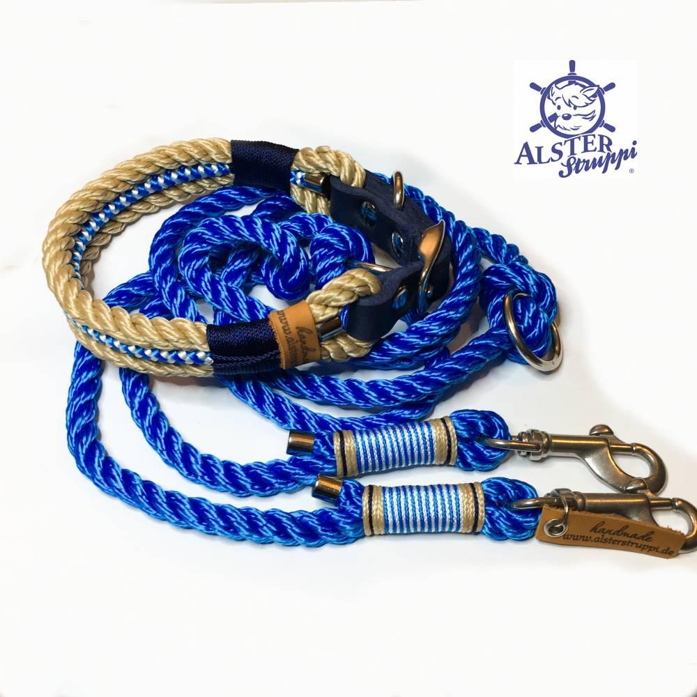 Leine Halsband Set natur royalblau, für Hunde, verstellbar Bild 1