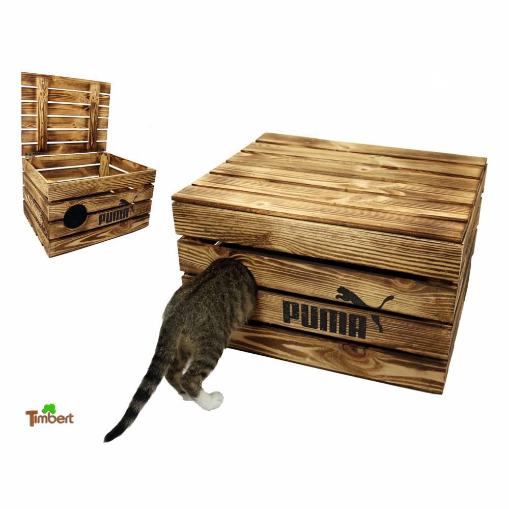 Katzenhöhle in Obstkisten Design Rustikale Katzentruhe aus Holz Katzenkorb mit Deckel für Katzen Katzenbett Holzkiste Bild 1
