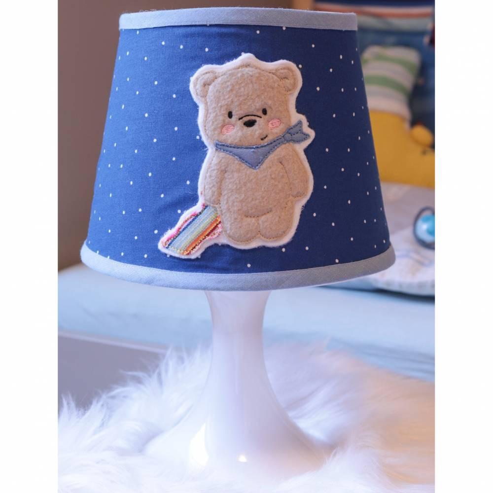 """Nachttischlampe  """"Schlummerlicht Bär"""" für Jungen in blau Bild 1"""