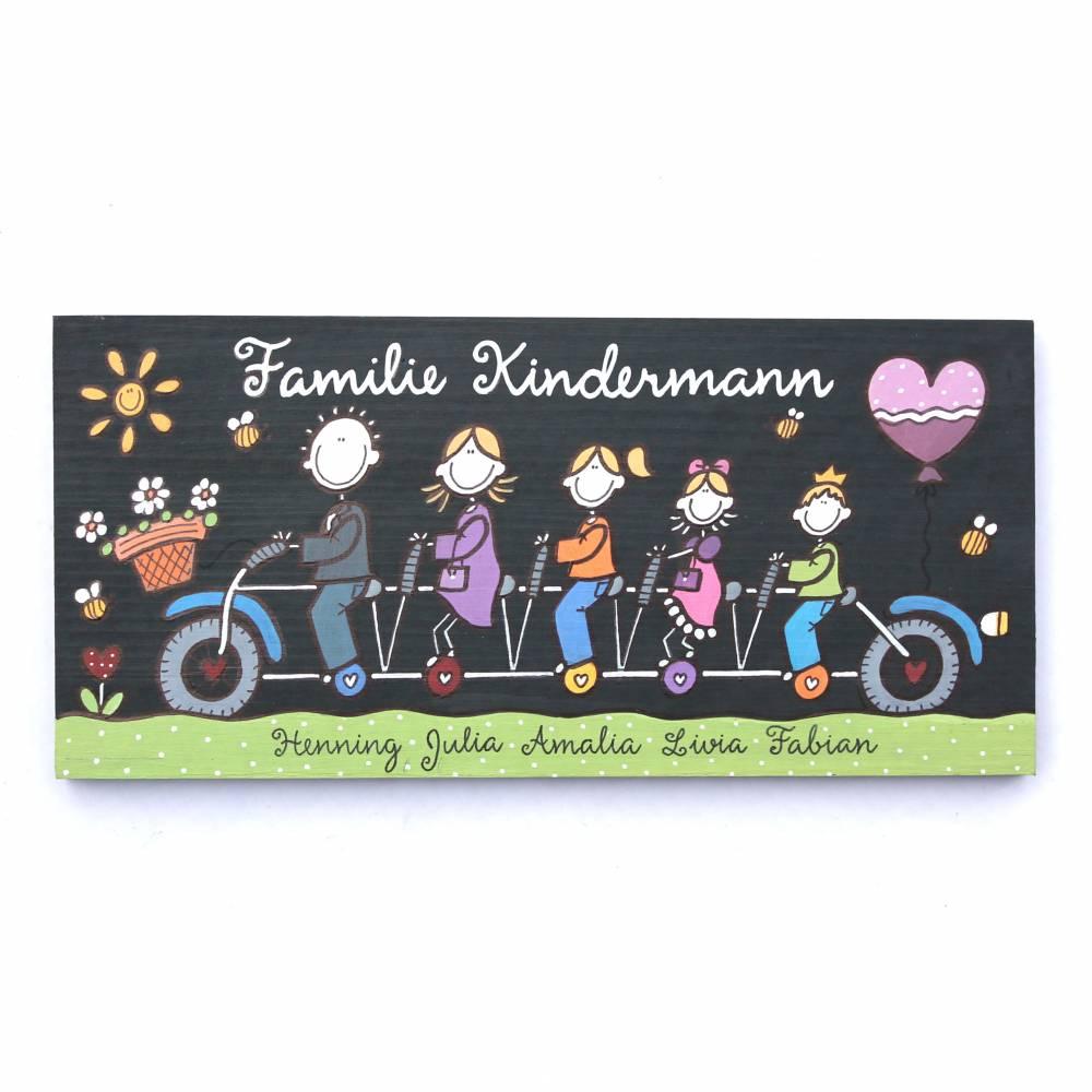 Türschild Familie personalisiert Holzschild Tandem Namensschild Fahrrad von Hand bemalt Familienschild individuell Bild 1