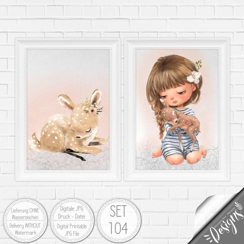 Druckbare Kinderzimmer Bilder Kinder Bild Waldtiere in A4 & A3 |SET 104 Bild 1