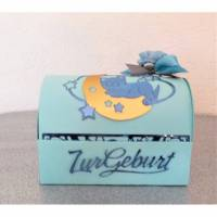 Geld Geschenk zur Geburt Taufe Geschenkverpackung Baby Junge Türkis Geschenkbox Bild 1