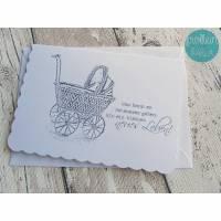 """Glückwunschkarte, Karte zur Geburt """"Vintage-Kinderwagen"""" aus der Manufaktur KarLa Bild 1"""