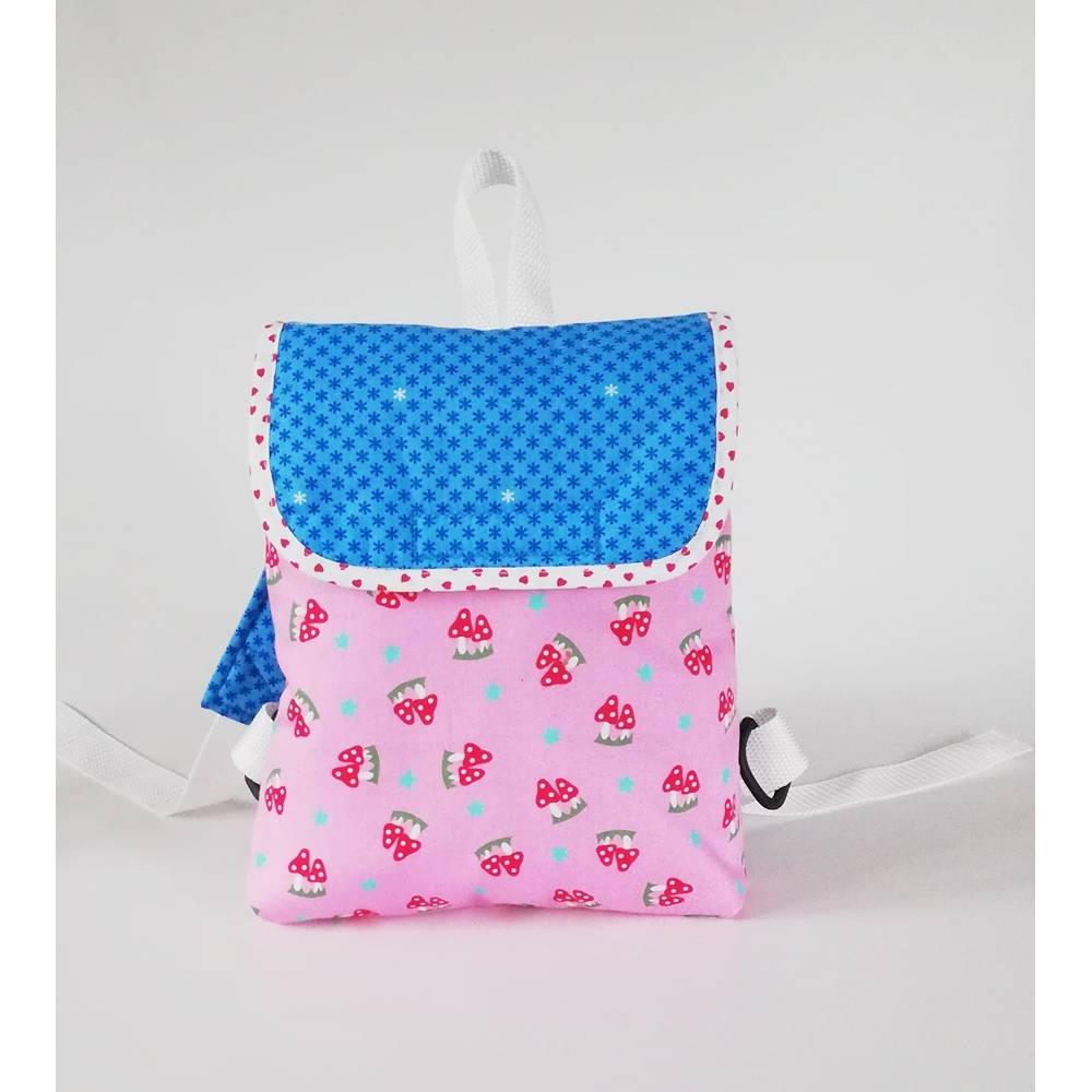 Kinderrucksack Fliegenpilz mit Namenkette, Baumwolle  rosa-blau, Handmade Bild 1
