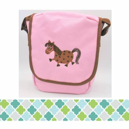 Schultertasche mit Pferd - mit Namen personalisierbar - auch in anderen Farben möglich