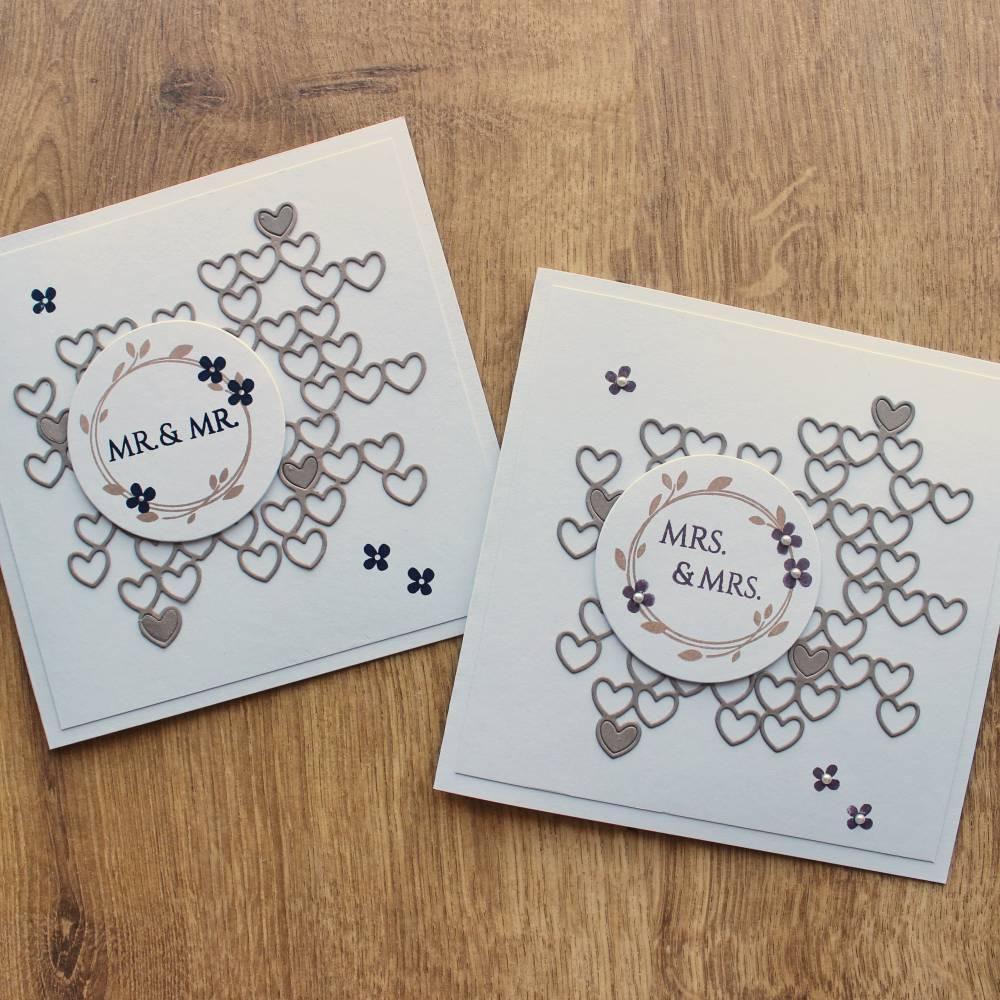 """Glückwunschkarte, Hochzeitskarte """"Mrs. & Mrs."""" oder """"Mr. + Mr."""" aus der Manufaktur KarLa Bild 1"""