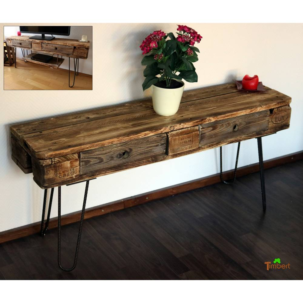 Vintage FERNSEHREGAL TV-Board aus EUROPALETTEN Hairpin Legs Industrie Design Sideboard Rustikal Altholz Upcycling Fernsehtisch Holz Möbel Bild 1