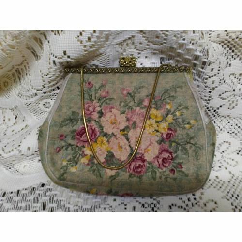 Vintage Gobelin Tasche - Antike Abendtasche - Rosen