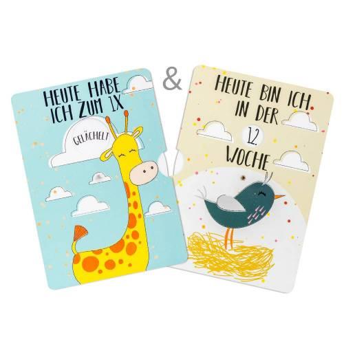 Fotokarten Set - Meilensteinkarten für Schwangerschaft & Baby - Schwangerschafts- und Babytagebuch