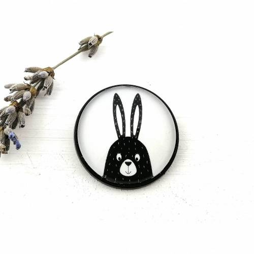 Brosche mit Kaninchen-Motiv, Osterhasen-Schmuck