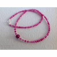 Pinke Perlenkette mit Sterling Silber, Geschenk für Frauen, Zuchtperlen, Home Office, Handarbeit aus Bayern  Bild 1