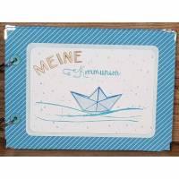 """Fotoalbum """"Meine Kommunion""""Handarbeit Geschenk zur Kommunion Kommunionsalbum Sammelalbum Erinnerungsalbum personalisiert Junge Bild 1"""