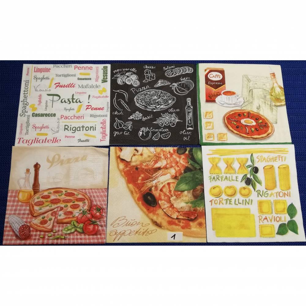 Pizza Pasta Servietten Set 6 Motivservietten Mix 1 Bild 1