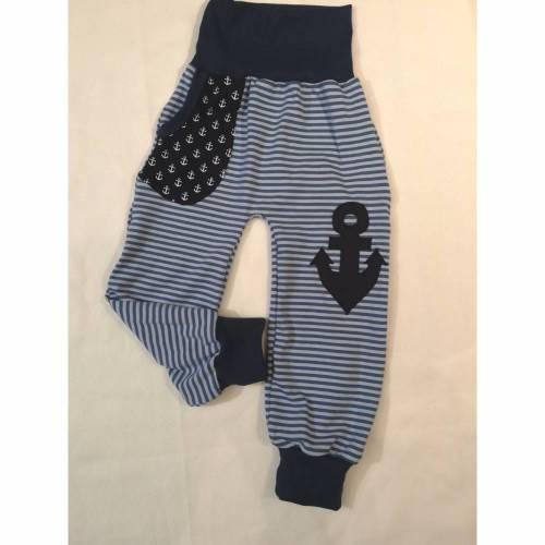 """Baby Hose / Kinder Pumphose ,, Maritim 4 """" in den Gr 50/56 bis 110/116 aus Jersey"""