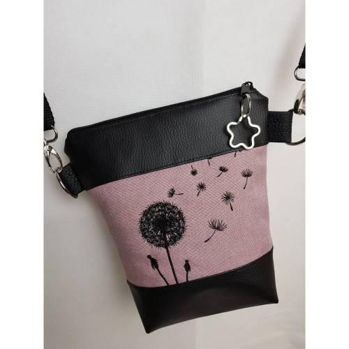 Kleine Handtasche Pusteblume rosa Umhängetasche Dandelion rosa schwarz Tasche mit Anhänger Kunstleder