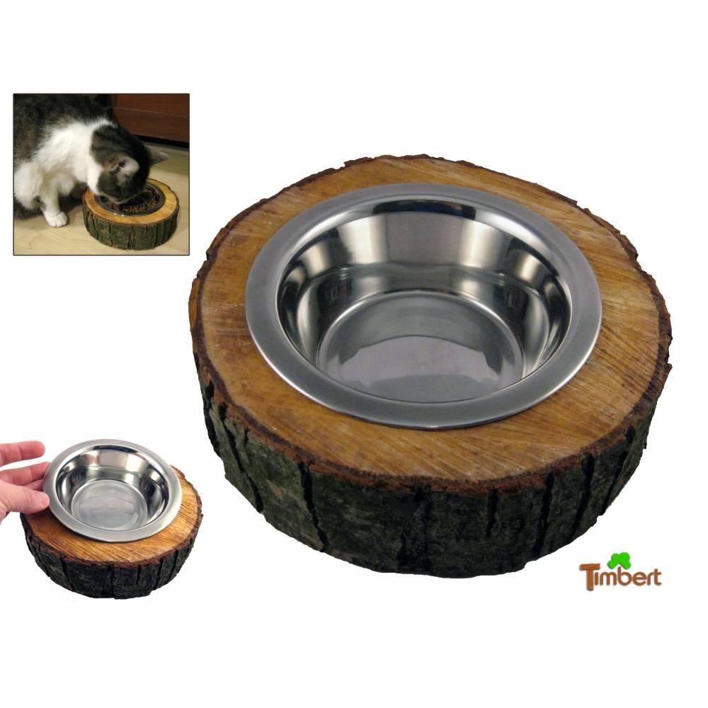 Rustikaler FUTTERNAPF aus einer BAUMSCHEIBE Geschenk aus Holz Hund Katze Katzennapf Hundenapf Fressnapf Trinknapf Futterbar Tier Edelstahl Bild 1