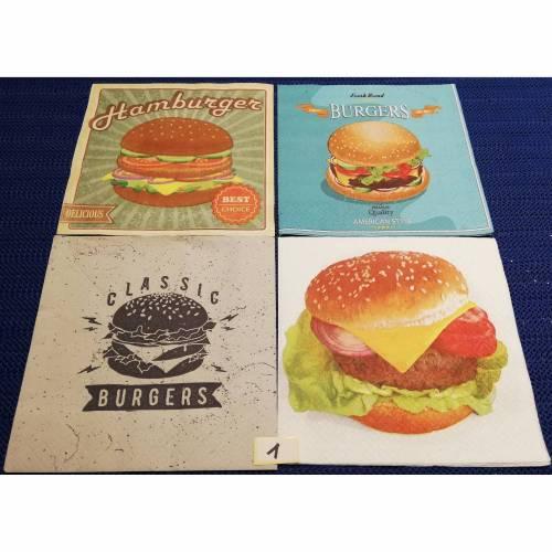 Servietten - Set   Burger / Hamburger  4 Motivservietten  Mix 1