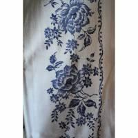 Vintage Tischdecke mit Blaudruck Blüten Bild 1