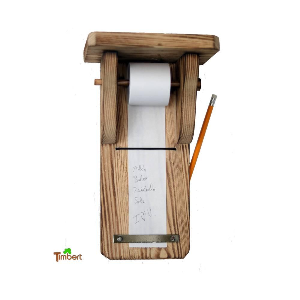 Rustikaler Notizrollenhalter aus recyceltem Holz Vintage Einkaufszettel aus Altholz Merkzettel Industrial Notizblock Notizhalter To-do-Liste Bild 1
