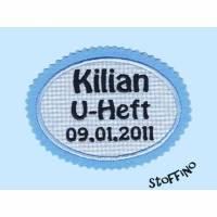 Applikation U-Heft mit Name + Datum blau Bild 1