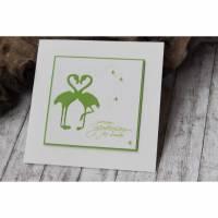 Glückwunschkarte zur Hochzeit - Flamingo und Herz Bild 1