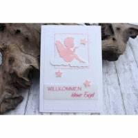 Glückwunschkarte zur Geburt - Engel und Sterne, Karte zur Taufe Bild 1