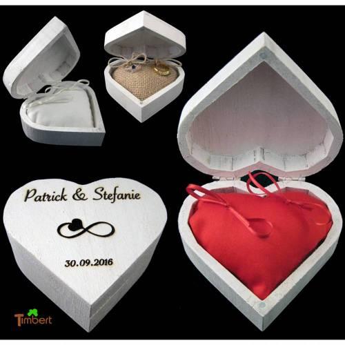 RINGBOX aus HOLZ Herz Ringkissen mit GRAVUR Hochzeit Schatulle Ringkästchen in weiß für Eheringe Holzbox Herzform Graviert Personalisiert