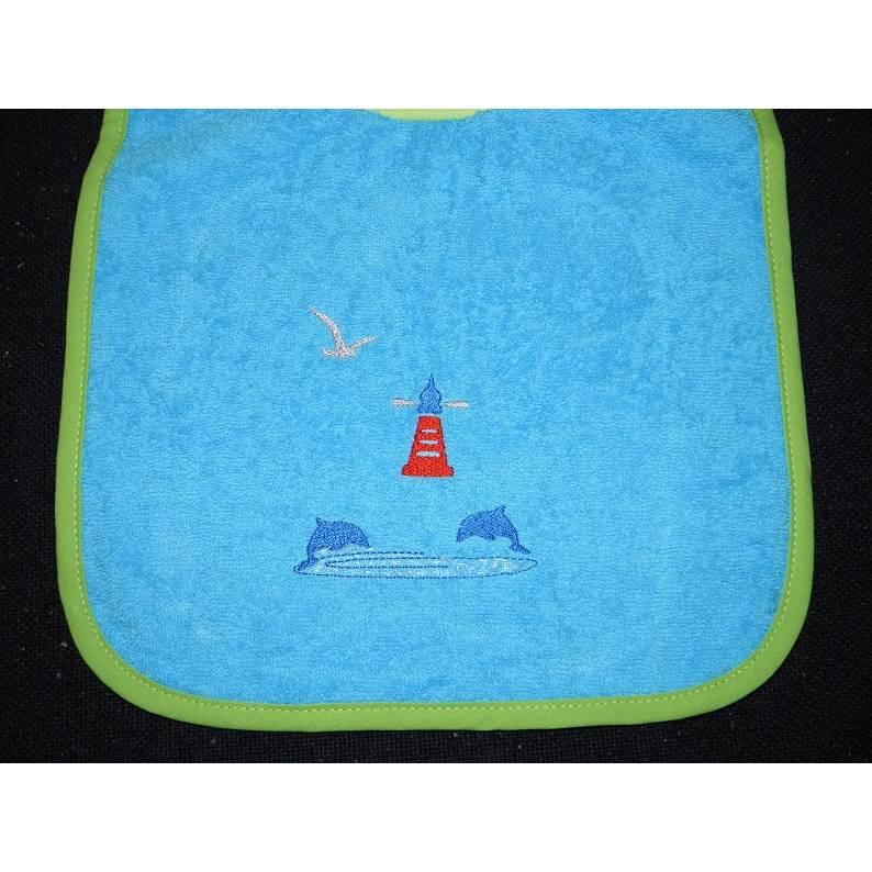 Lätzchen, Schlupflätzchen, Latz, Babylatz, bestickt, maritim, Delphin, Leuchtturm, mit Name, personalisiert, Riesenschlupflatz Bild 1