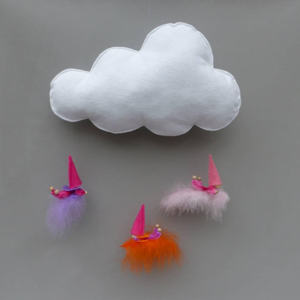 Baby-Mobile Wolke mit Wichtel-Zwergen auf Feder, Geschenk Geburt, Taufe Bild 1