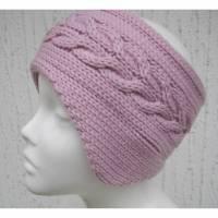 Gestricktes Stirnband mit Ohrenschützern in Rosa mit Zopfmuster aus 100 %Wolle (Merinowolle) Bild 1