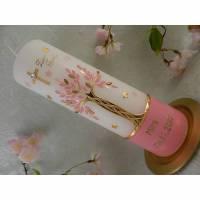 Taufkerze Mädchen Lebensbaum rosa gold Baum des Lebens Name Datum Spruch individualisierbar Bild 1