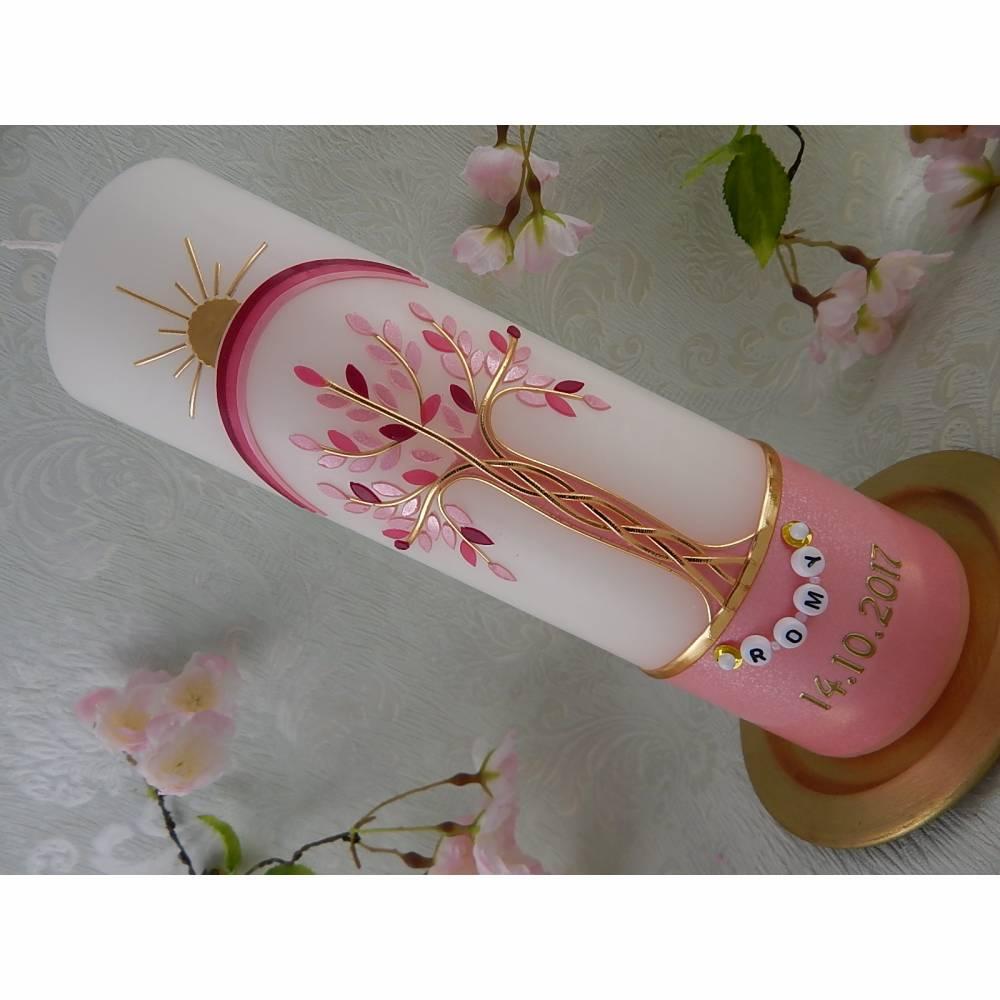 Taufkerze Mädchen Lebensbaum rosa gold Baum des Lebens Regenbogen Namenskette Name Datum Spruch individualisierbar Bild 1