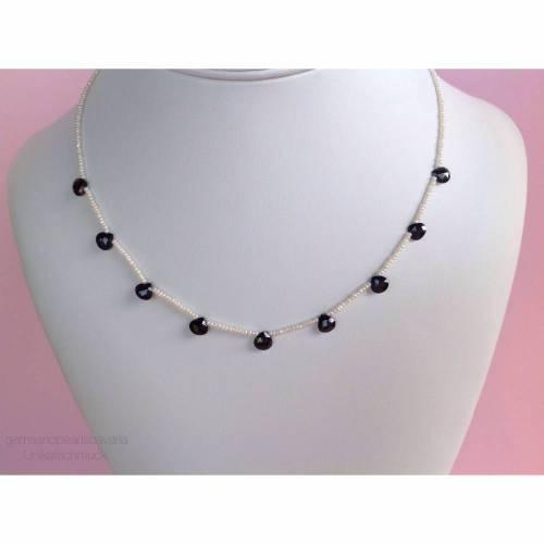 Perlenkette mit Onyx, Saatperlenkette mit facettierten Onyxtropfen, Geschenk für Frauen, Zuchtperlen, Edelsteine