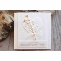 Hochzeitskarte, Glückwunschkarte zur Goldenen Hochzeit, gold, weiß Bild 1
