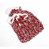Säckchen Geschenkverpackung Duftbeutelchen Geschenkbeutelchen gehäkelt Perlen weiß weinrot Bild 1