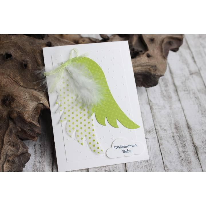 Glückwunschkarte mit Engelsflügeln zur Geburt und Taufe, für Junge oder Mädchen Bild 1
