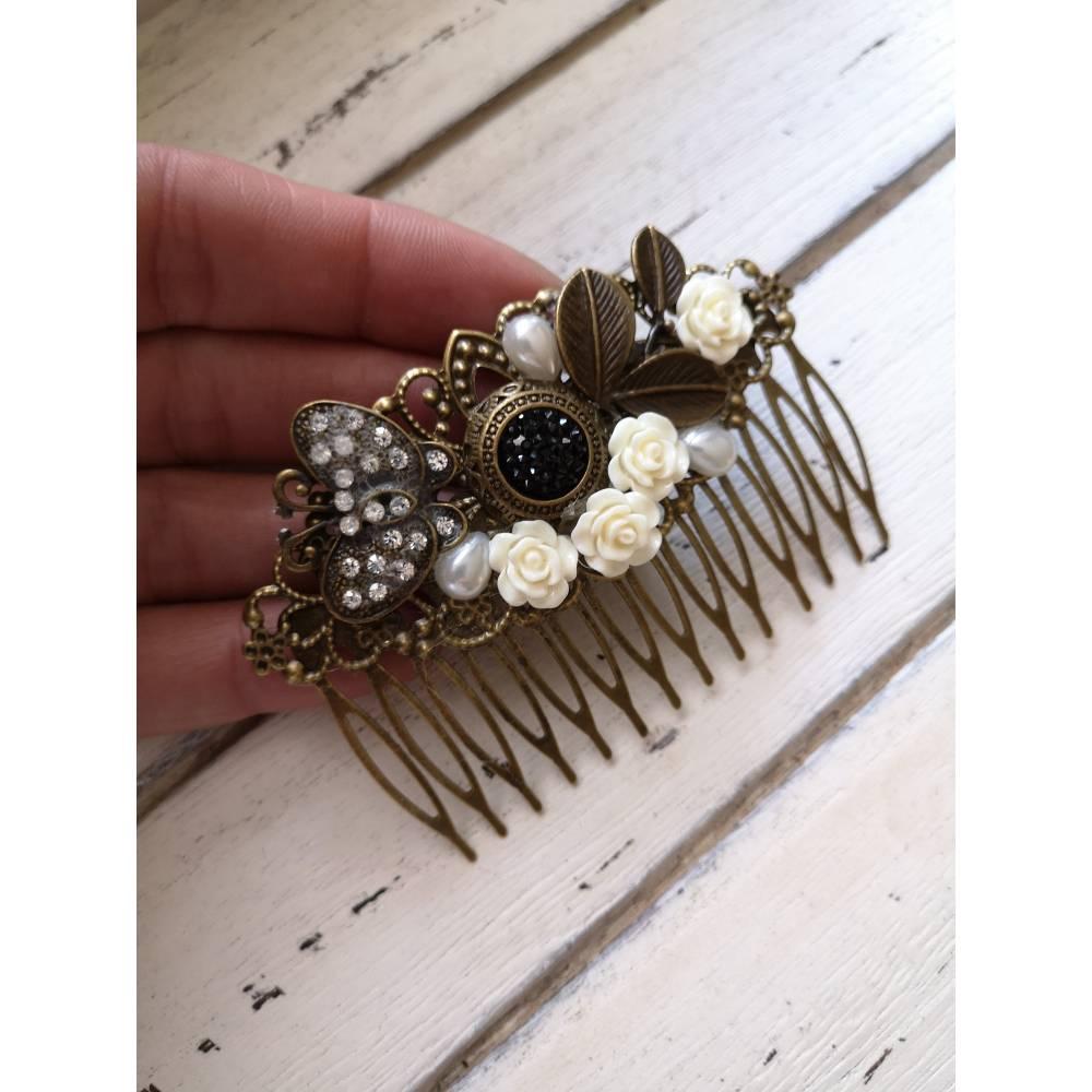 Haarkamm im Vintage-Stil,  Antik-Stil, Rosen, Schmetterling, Strass Bild 1