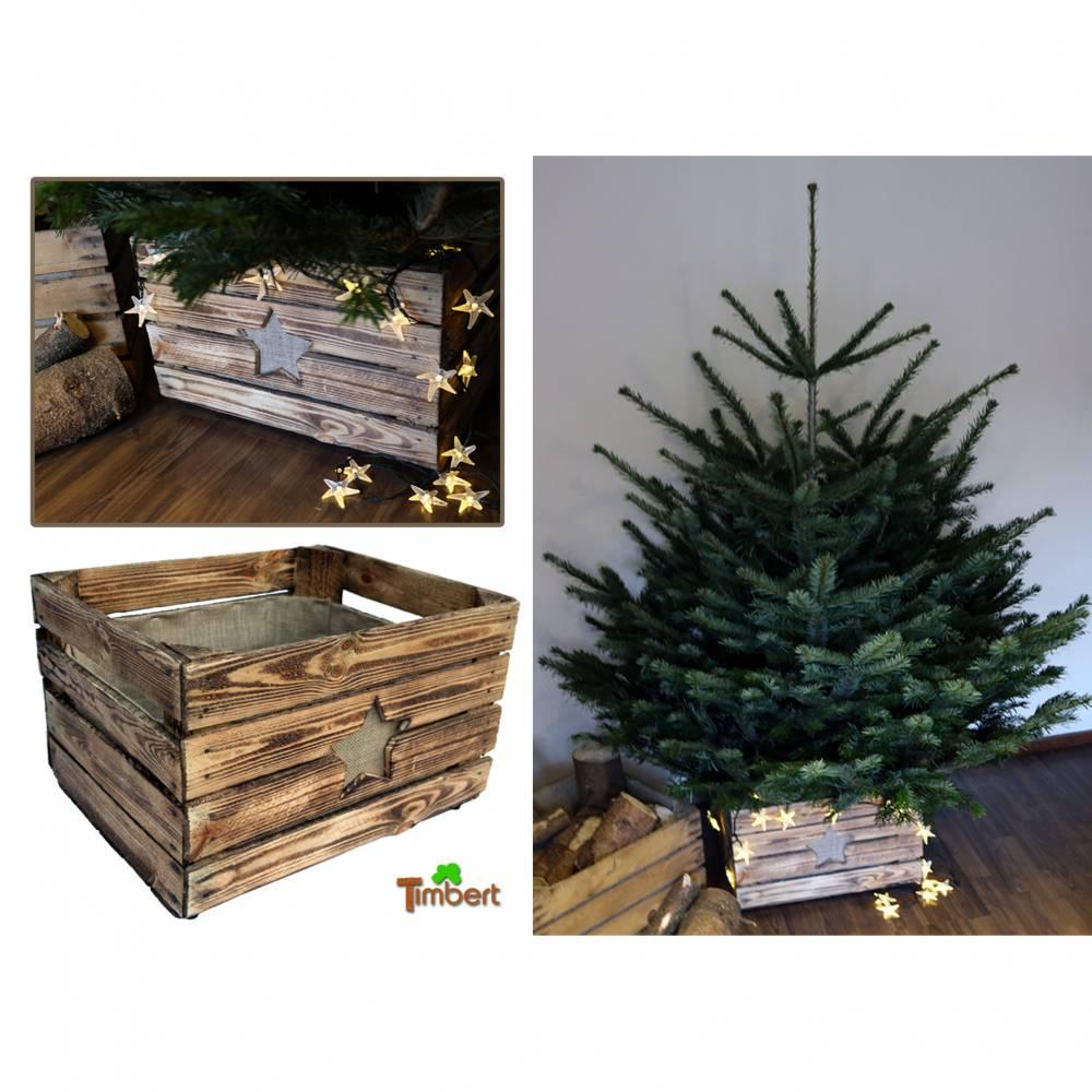VINTAGE WEIHNACHTSBAUMSTÄNDER Christbaum Ständer aus Holz alte Rustikale OBSTKISTE Weihnachtsdeko Holzkiste Baumhalter Weihnachten Geschenk Bild 1
