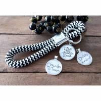 Schlüsselanhänger aus Segeltau Maritim mit Herz und Cabochon Bild 1