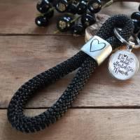 Schlüsselanhänger aus Segeltau Maritim mit Herz und Cabochon Bild 6