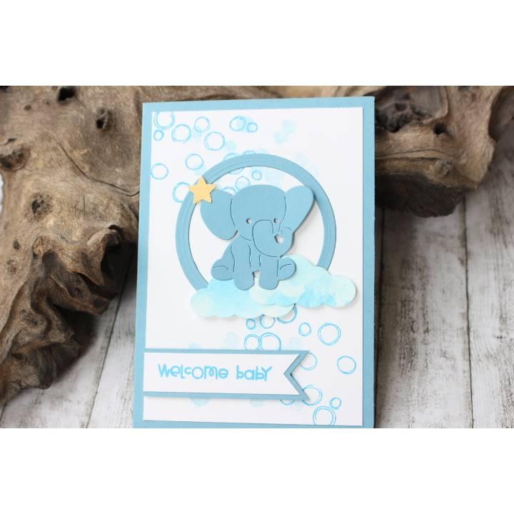 Glückwunschkarte zur Geburt mit Elefant-Motiv, Babykarte, Karte zur Taufe Bild 1
