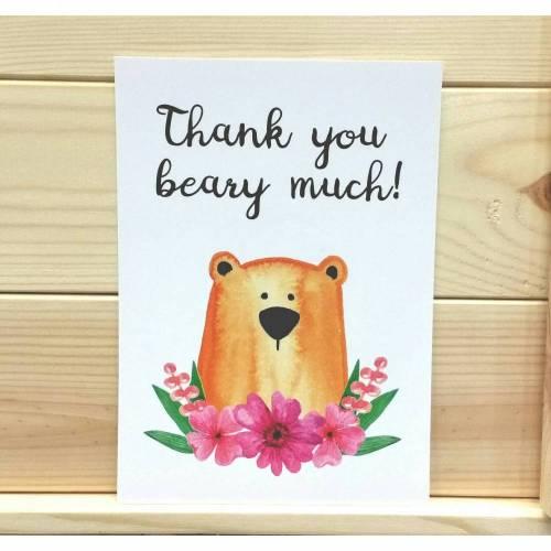 Danke Postkarte 5er Set, Postkarte mit Bär