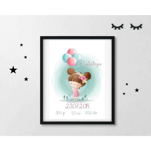 Geburtsdruck Geburtsanzeige Personalisiert Mädchen Ballon in DIN A4
