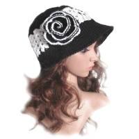 Damen Sommerhut Sonnenhut *Black Dream* mit Blüte Gr. 57/58 cm Kopfumfang gehäkelt  Bild 1