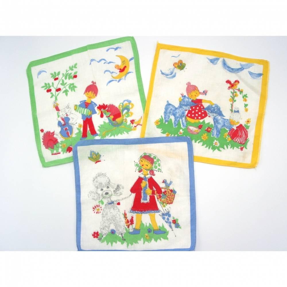 Vintage Kinder-Taschentücher Motiv Natur Tiere Musik Kinder Bild 1