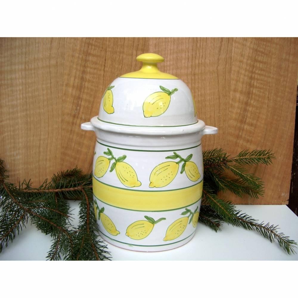 Vintage Dose Keramik XL Rumtopf mit Deckel Zitronen weiß Vorratsbehälter Bowle Töpferware Handarbeit  Bild 1