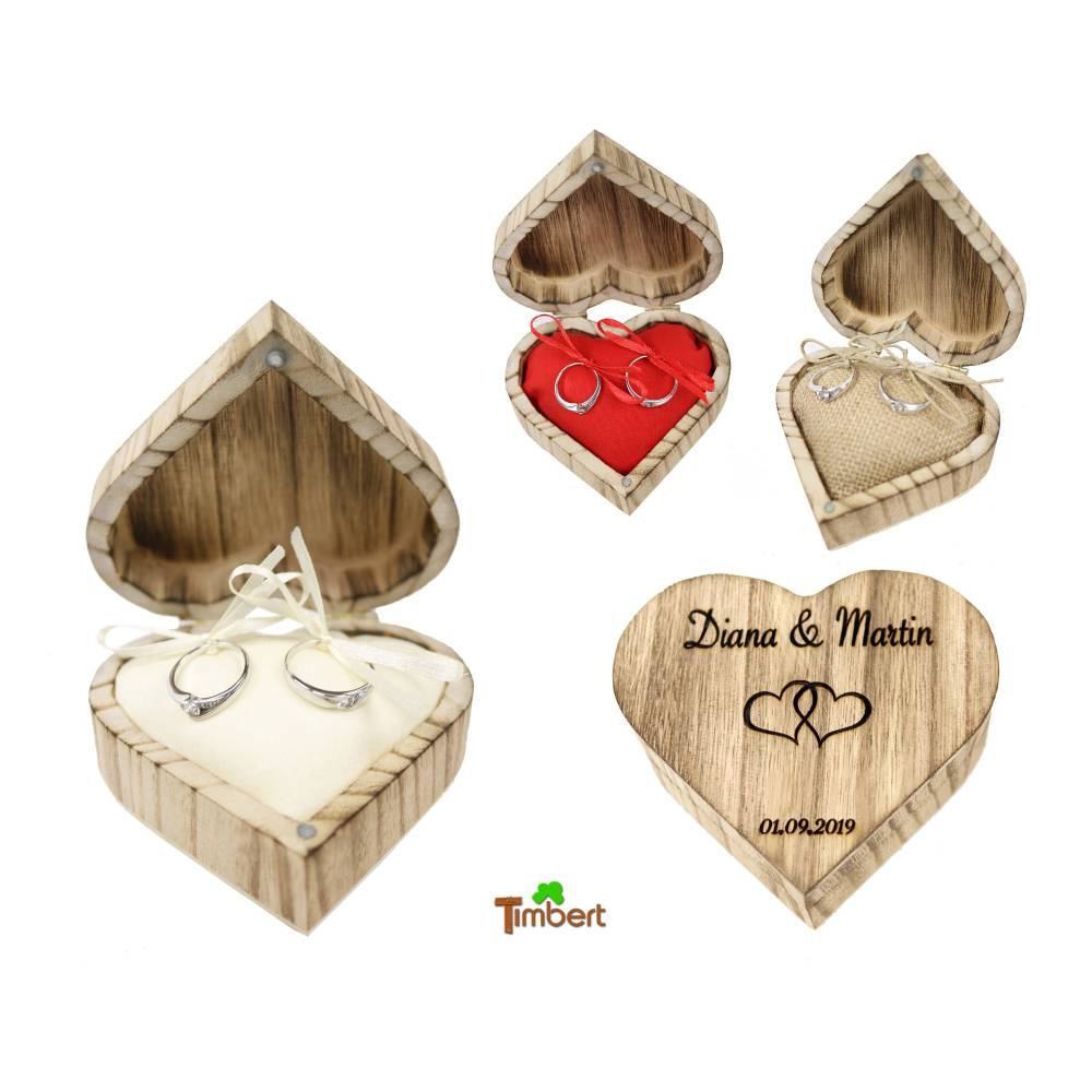 RINGBOX aus HOLZ Herz Vintage Ringkissen mit GRAVUR Rustikale Hochzeit Ringschachtel für Eheringe Ringkästchen Ringschatulle Personalisiert Bild 1